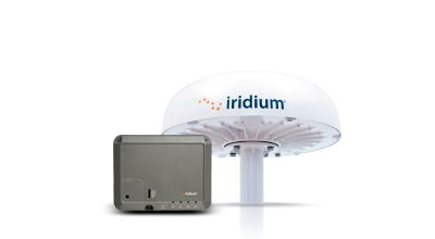 Iridium Pilot Maritime Satellite Broadband terminal with base