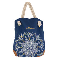 Stylish 100% Organic Cotton Blue Mandala Bag