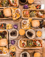Tray of Vegan burgers, sandwiches and / or wraps