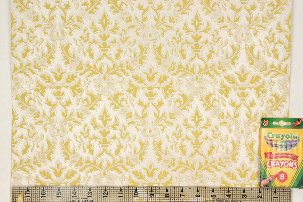 1960s Vintage Wallpaper Damask Design Yellow
