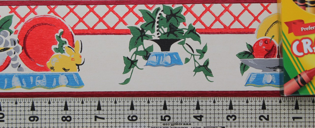 Duro Vintage Wallpaper Border Kitchen Plates and Fruit