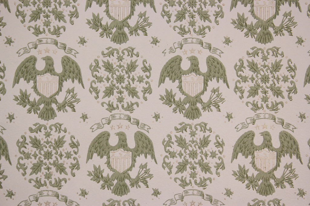 1970s Vintage Wallpaper Eagles and Medallions Americana Gray
