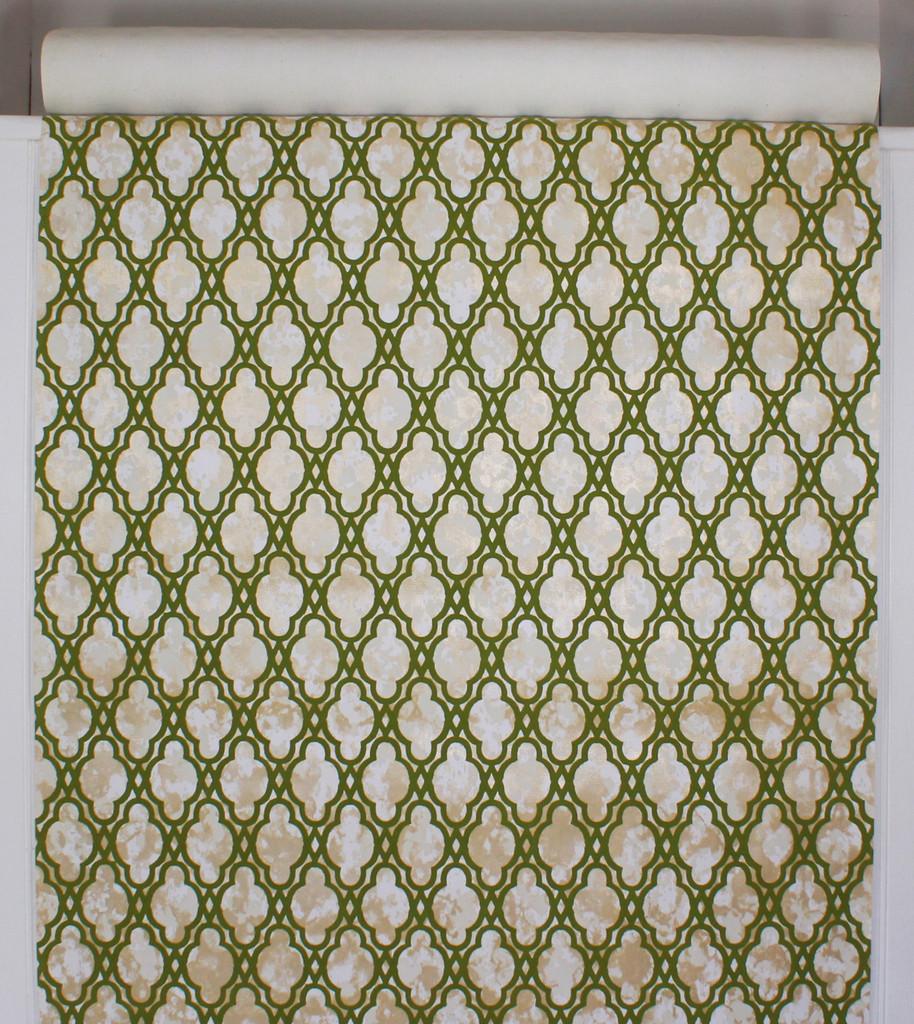1970s Vintage Wallpaper Flocked Green Design