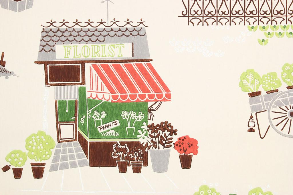 1940s Vintage Wallpaper Florist Shop