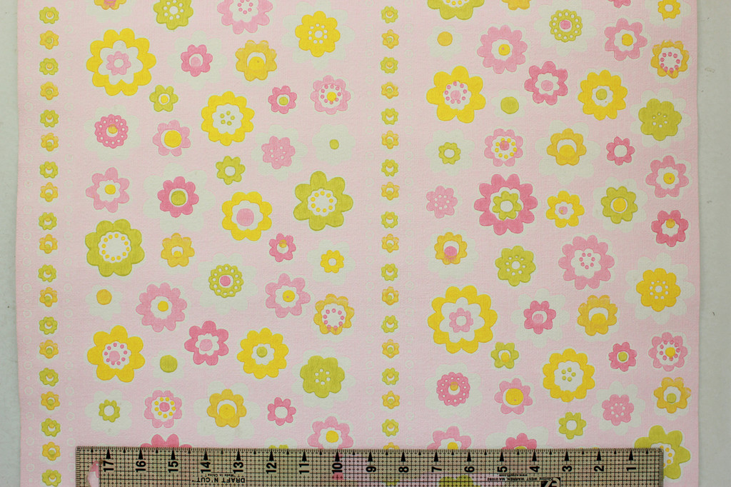 1970s Vintage Wallpaper Retro Pink and Yellow Flowers