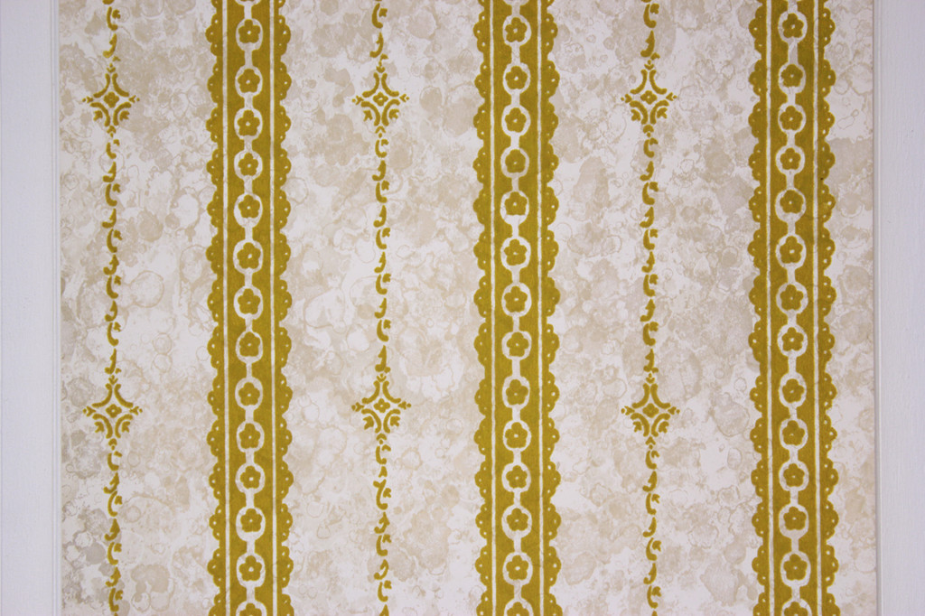 1970s Vintage Wallpaper Gold Green Flocked on Marble