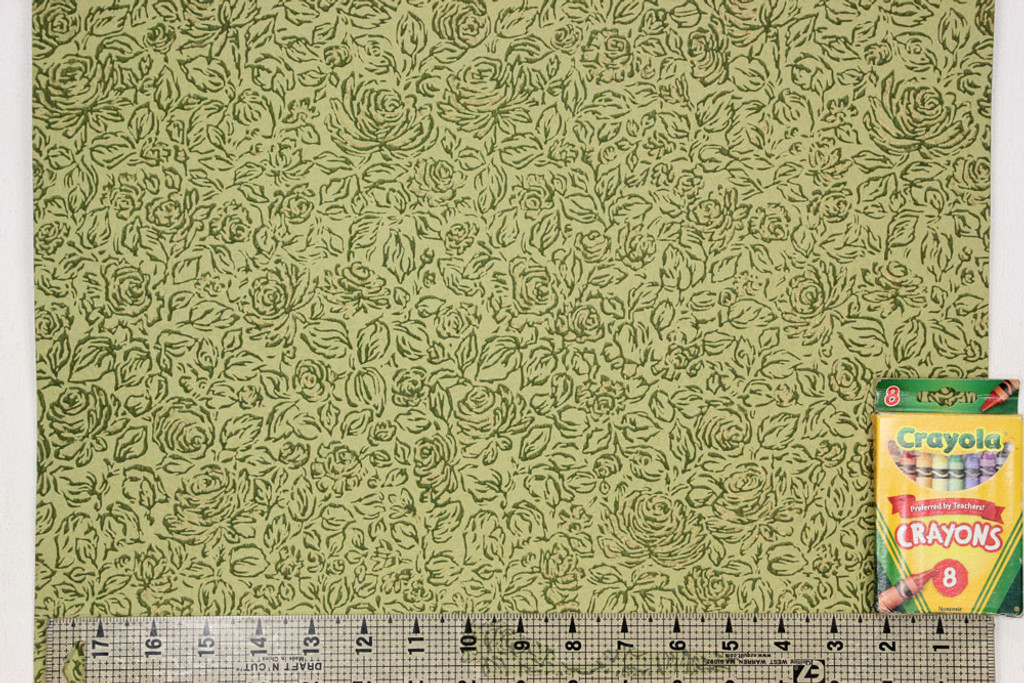 1960s Vintage Wallpaper Green and Gold Roses on Green