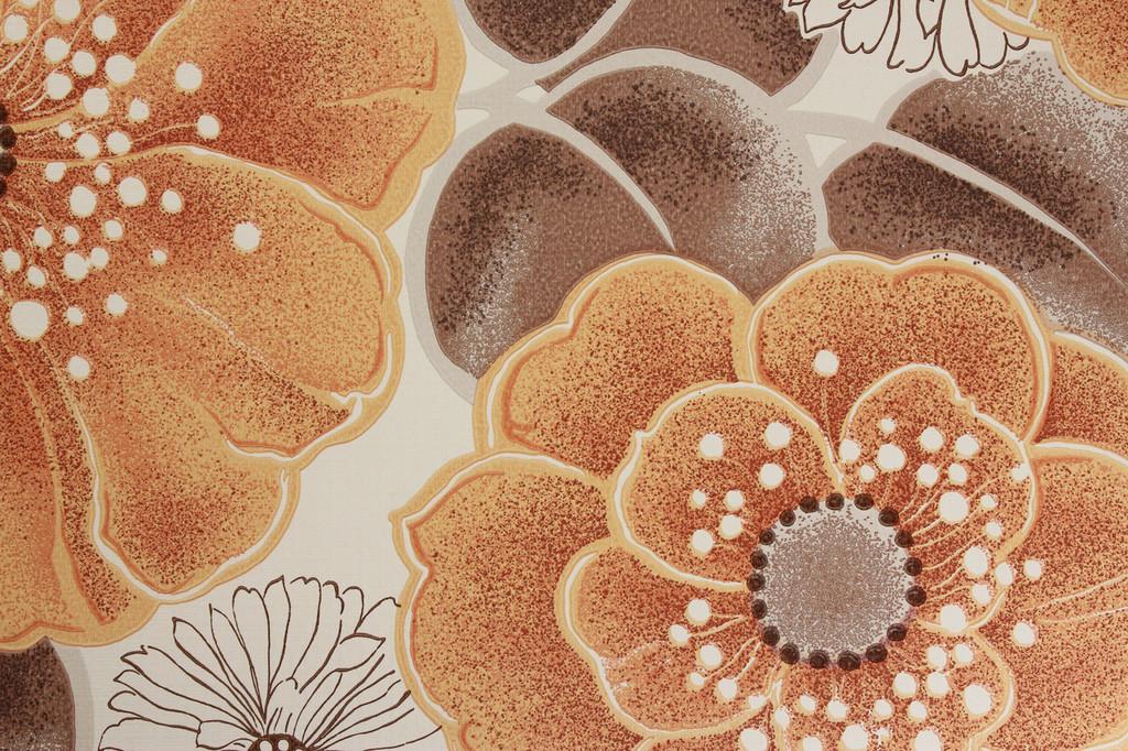 1970s Vintage Wallpaper Large Orange Flowers Vinyl