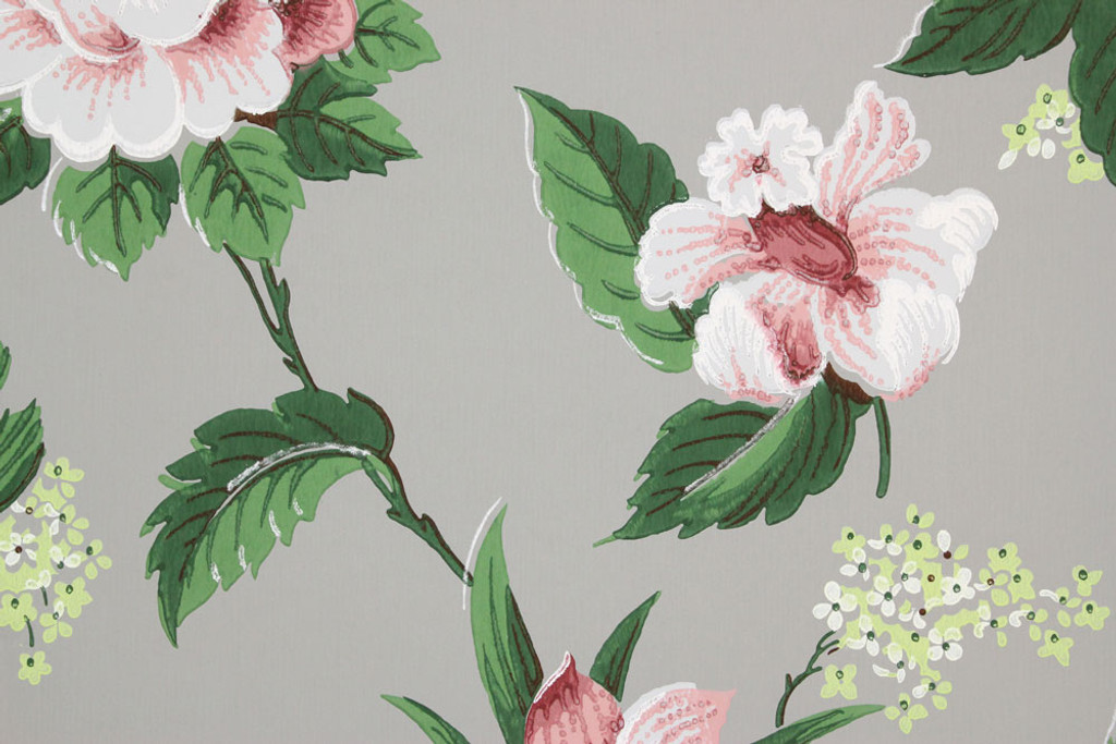 1940s Vintage Wallpaper Pink and White Floral on Gray