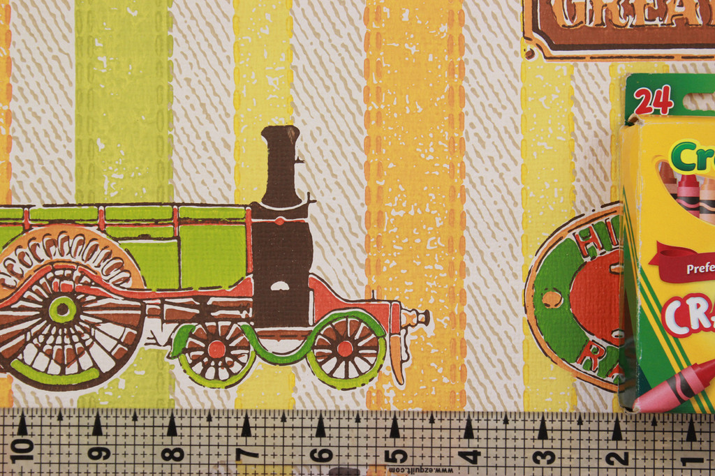1970s Vintage Wallpaper Cars and Trains