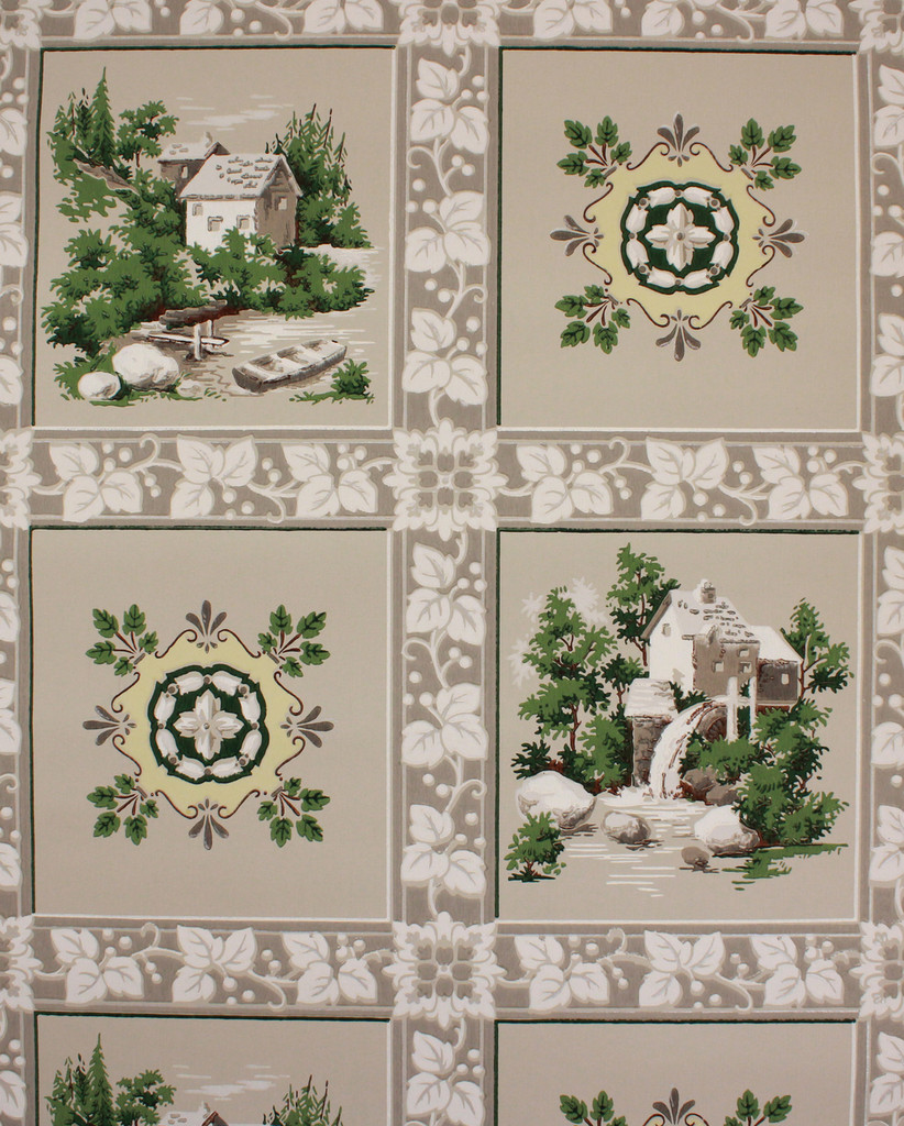 1950s Vintage Wallpaper Watermill Scenic