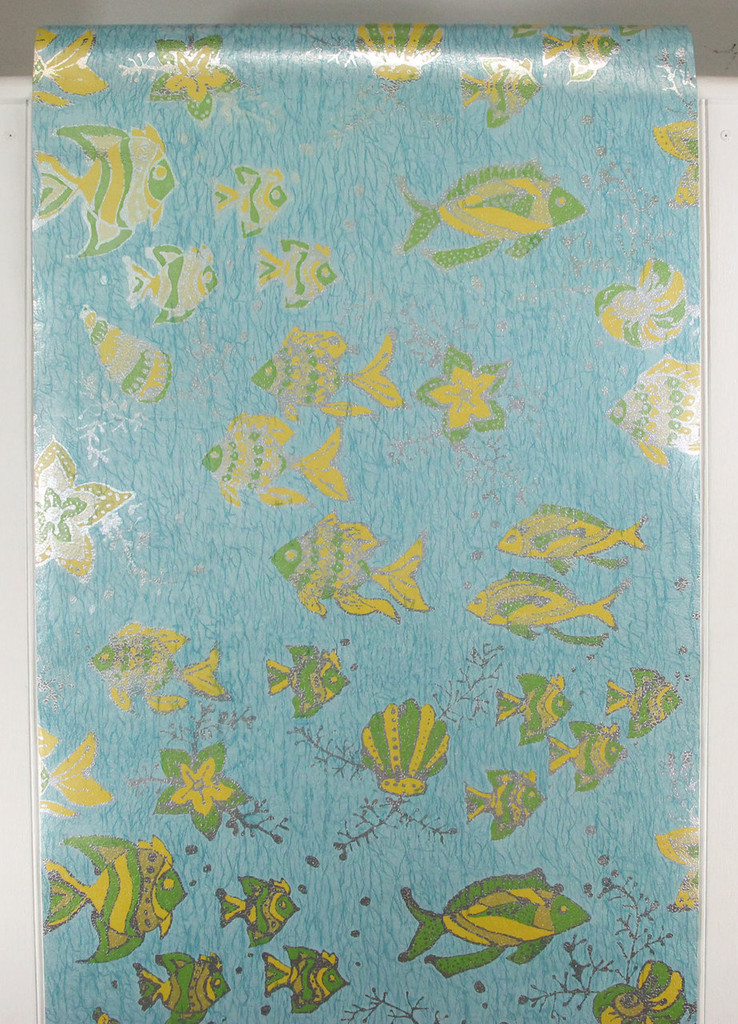 1970s Vintage Wallpaper Fish on Foil