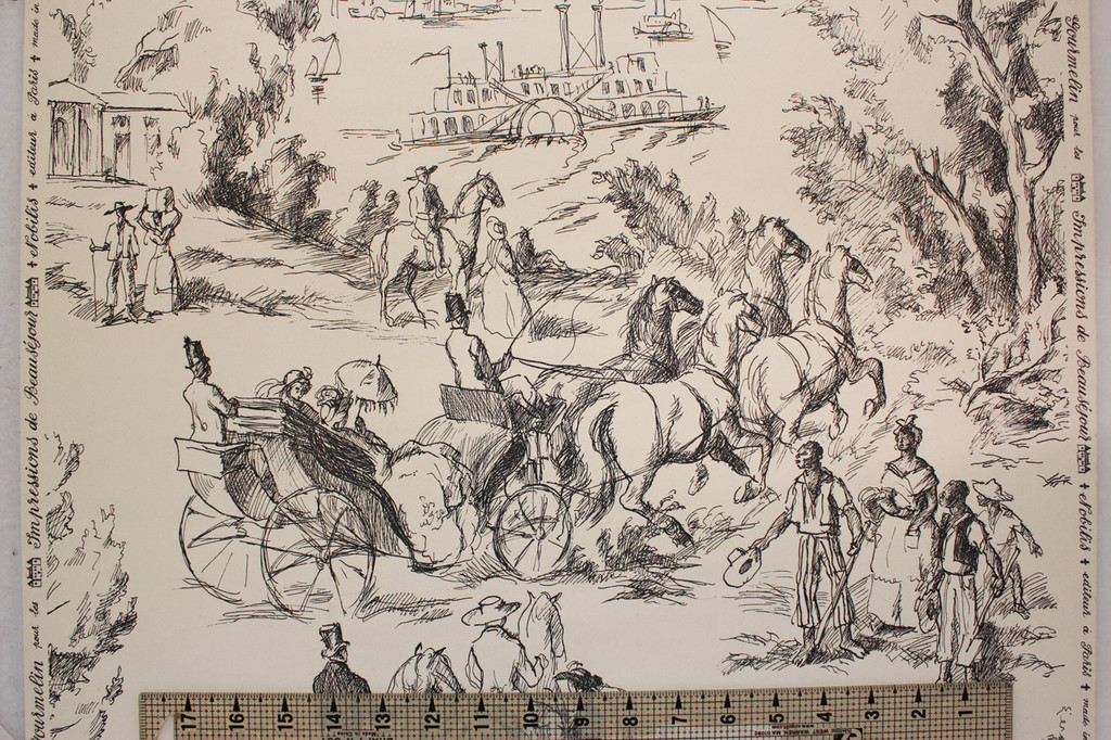 1970s Vintage Wallpaper French Toile on White