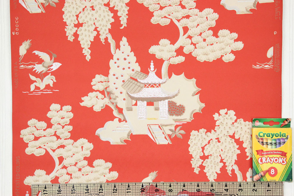 1950s Vintage Wallpaper Red Chinoiserie