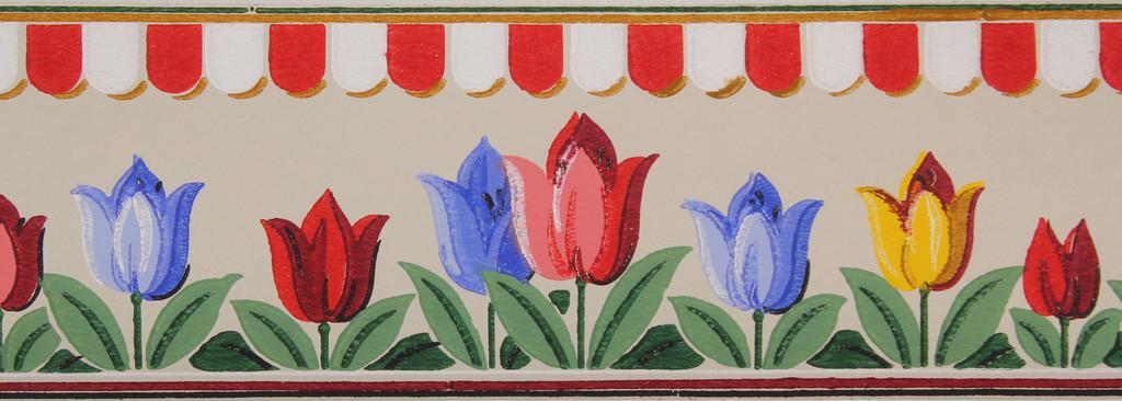 Duro Vintage Wallpaper Border Tulip