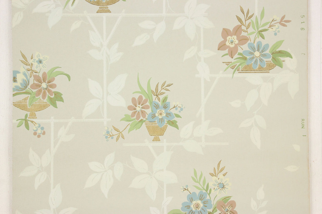 1940s Vintage Wallpaper Blue Brown Flowers on Green-Gray