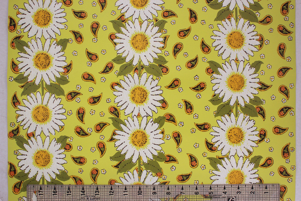 1970s Vintage Wallpaper Sunflower Paisley