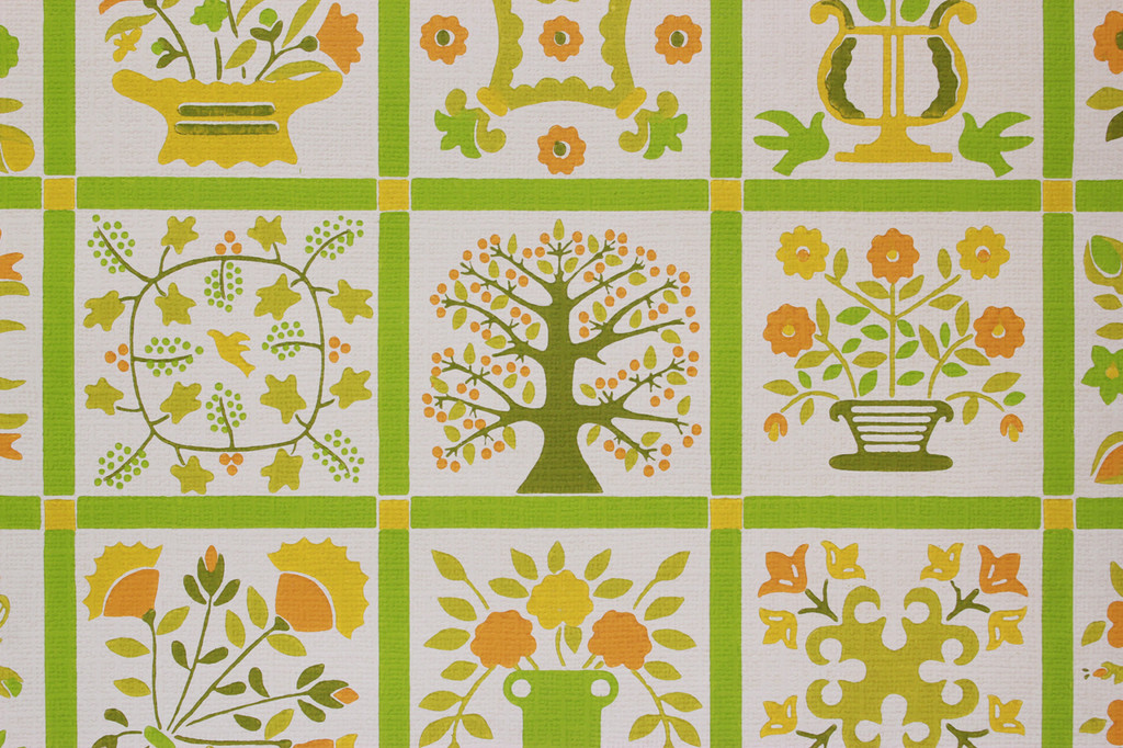 1970s Vintage Wallpaper Green Floral Geometric