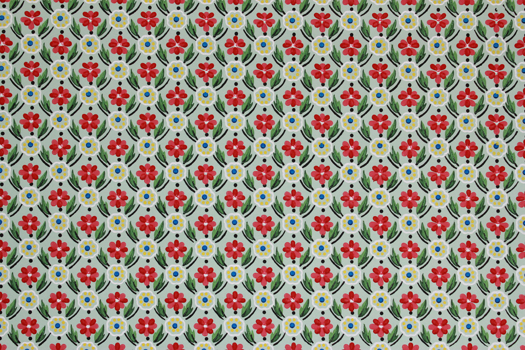 1940s Vintage Wallpaper Red and Yellow Floral Geometric on Green