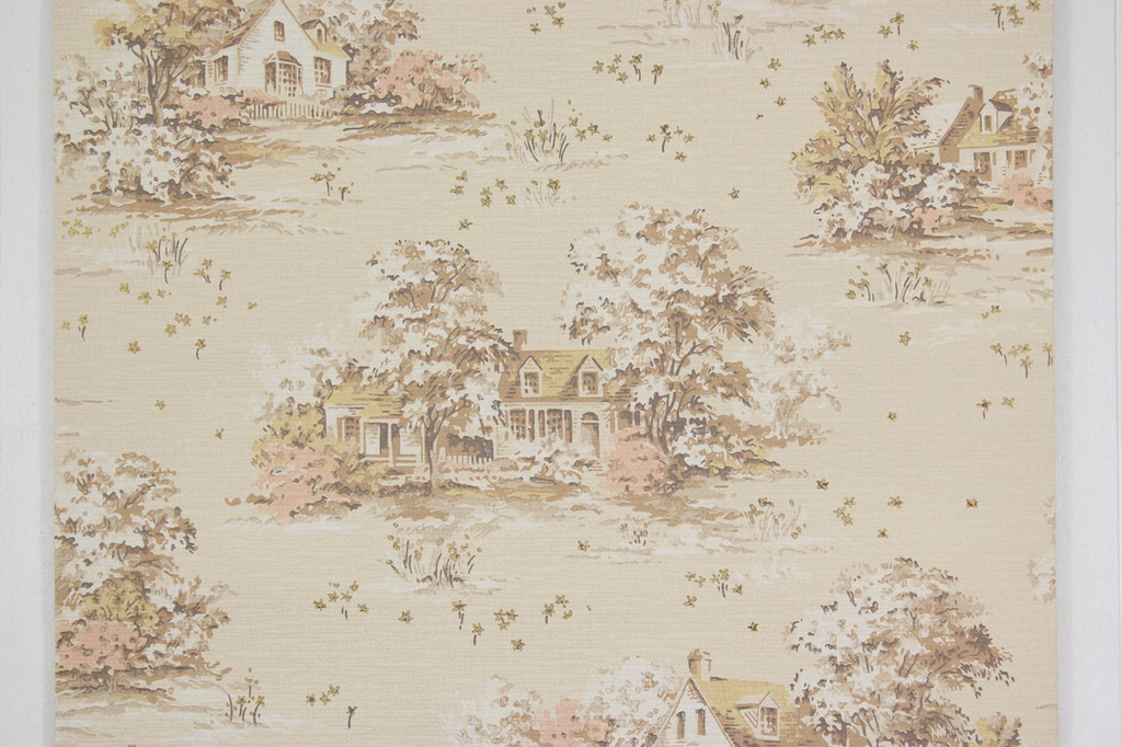 1950s Vintage Wallpaper Scenic Houses on Beige