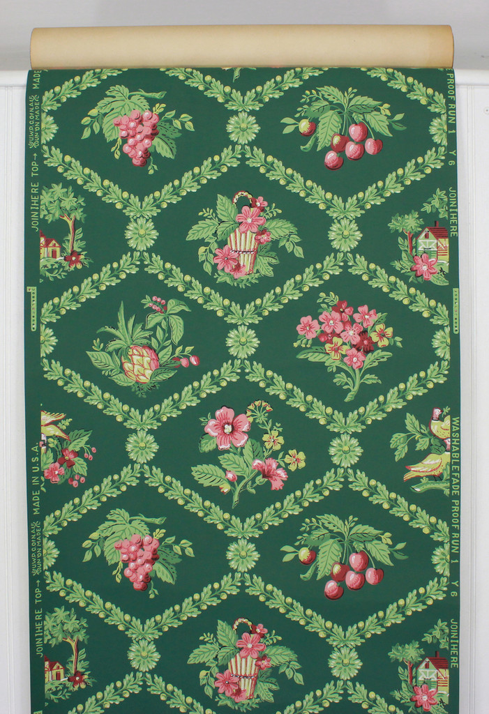 1940s Vintage Wallpaper Pink Yellow Bouquets Fruit