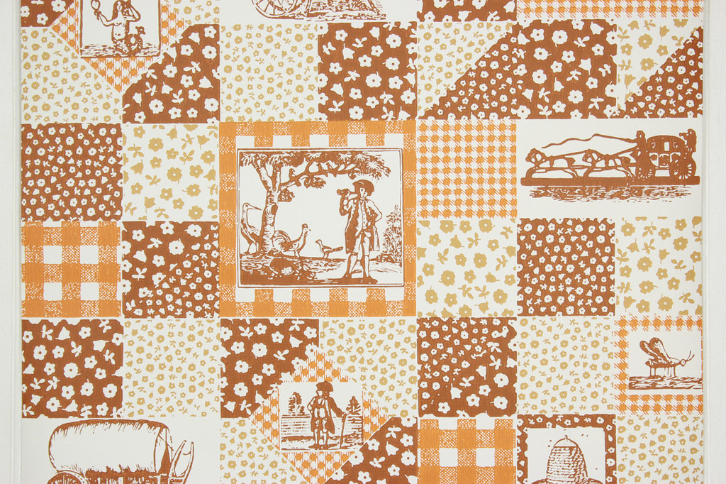 1970s Retro Vintage Wallpaper Orange Brown Scenic Geometric