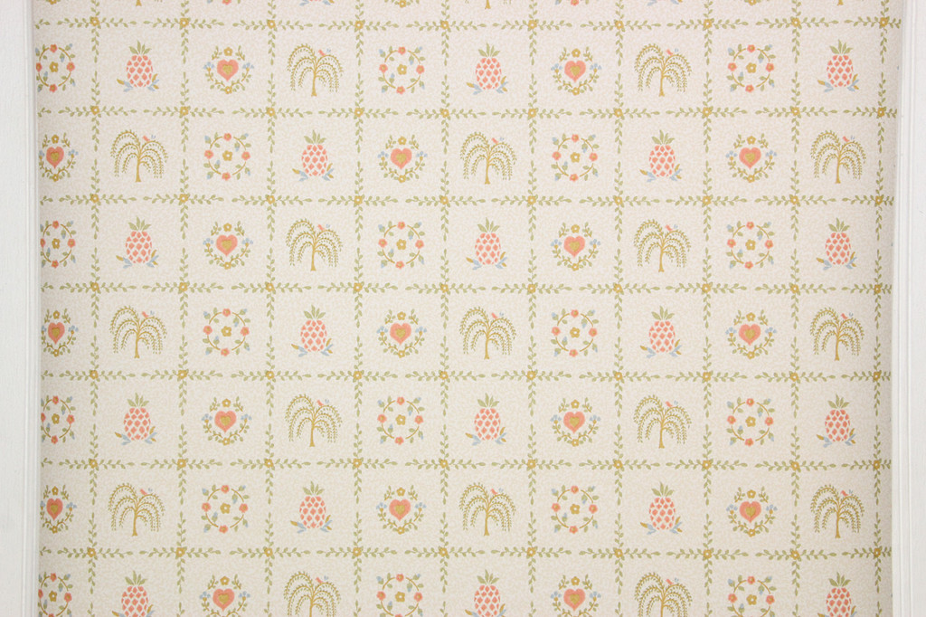 1980s Retro Vintage Wallpaper Country Hearts