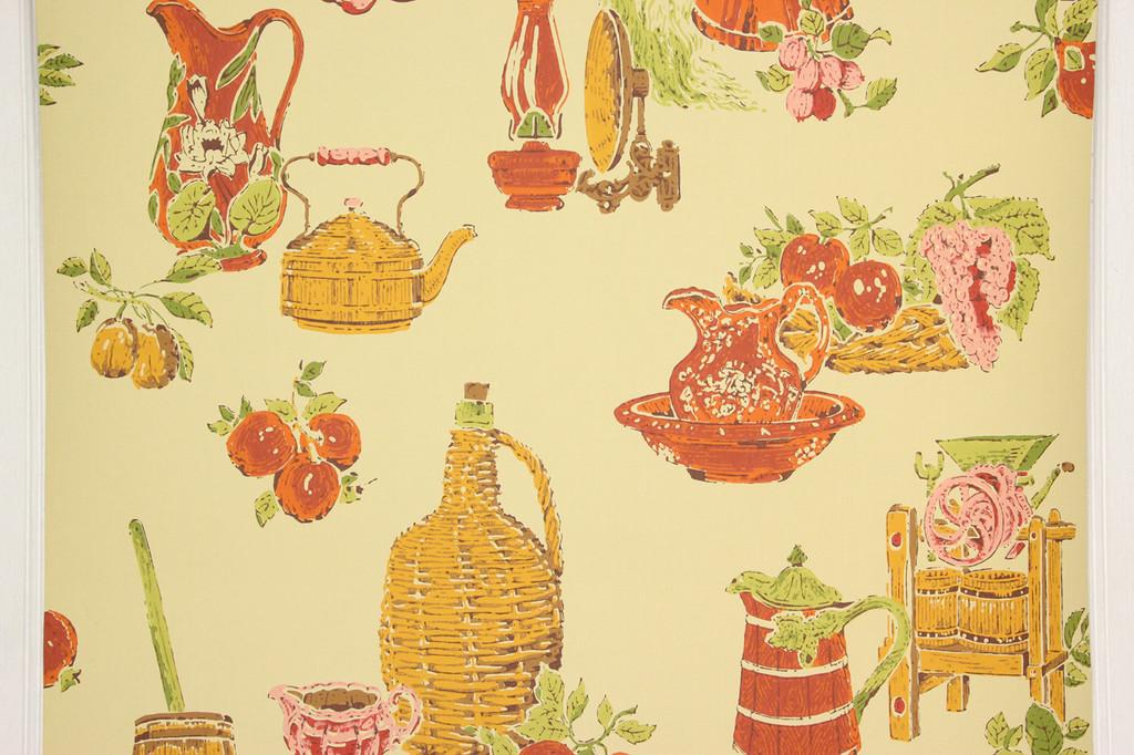 1970s Retro Vintage Wallpaper Red Orange Kitchen