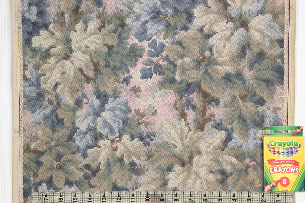 1900s Antique Wallpaper Blue Green Leaves