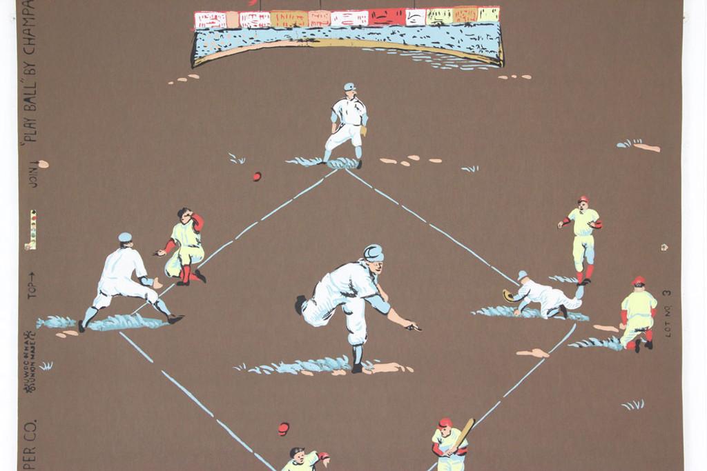 1950s Vintage Novelty Wallpaper Baseball
