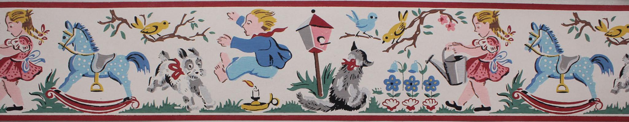 ... Imperial Vintage Wallpaper Border Jack Be Nimble Nursery Rhyme White ... - Imperial Vintage Wallpaper Border Jack Be Nimble Nursery Rhyme