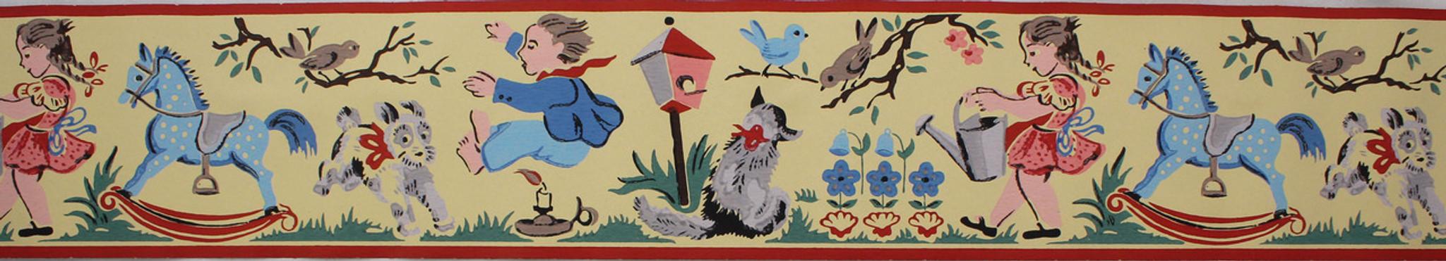 ... Imperial Vintage Wallpaper Border Jack Be Nimble Nursery Rhyme Yellow - Imperial Vintage Wallpaper Border Jack Be Nimble Nursery Rhyme