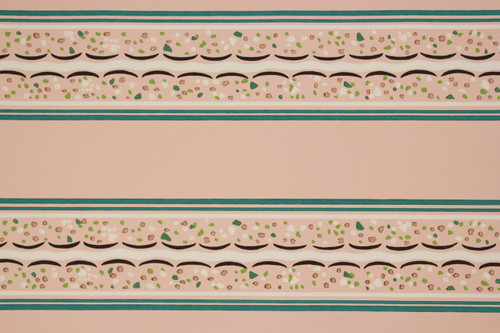1940s Vintage Wallpaper Border Turquoise and Pink