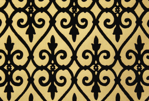 1970s Vintage Wallpaper Black and Gold Flocked Damask Design