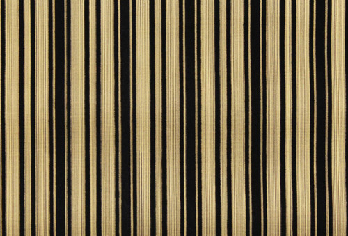 1970s Vintage Wallpaper Black and Gold Flocked Stripe