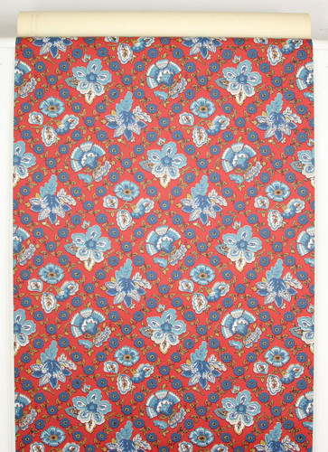 1960s Vintage Wallpaper Blue Floral Geometric on Red