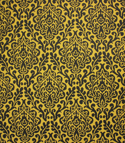 1970s Vintage Wallpaper Yellow and Black Damask