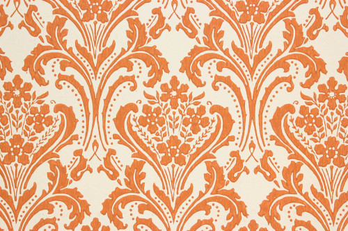 1960s Vintage Wallpaper Copper Damask Design