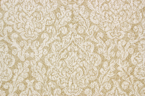 1960s Vintage Wallpaper Damask Design White on Khaki