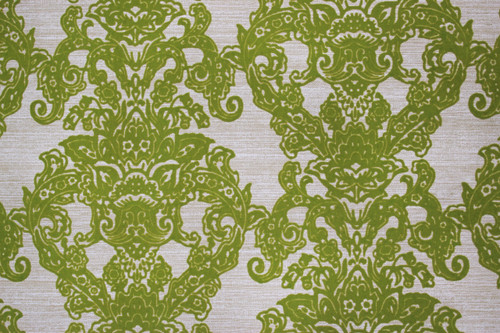 1970s Vintage Wallpaper Flocked Green Damask Design