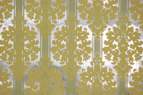 1970s Vintage Wallpaper Yellow Flocked Design on Foil