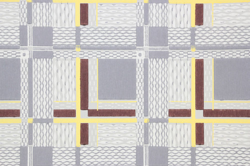 1940s Vintage Wallpaper Blue Brown and Yellow Tiles