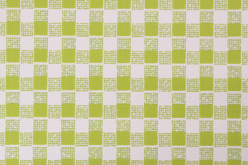 1970s Vintage Wallpaper Vinyl Green Check