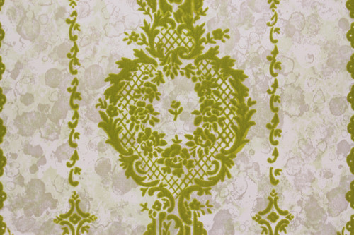 1970s Vintage Wallpaper Green Flocked Design on Marble