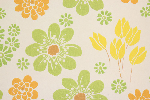 1960s Vintage Wallpaper Retro Green Orange Yellow Flowers