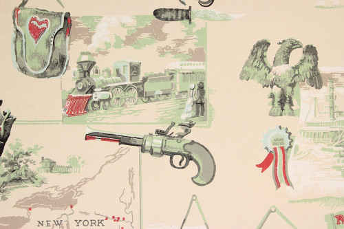 1950s Vintage Wallpaper Americana Guns Trains Ships