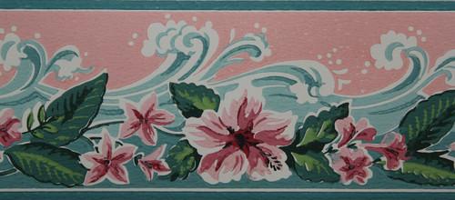 Imperial Vintage Wallpaper Border Waves Pink