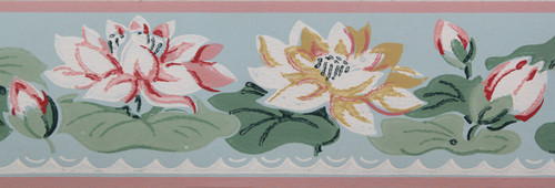 Imperial Vintage Wallpaper Border Water Lily on Blue