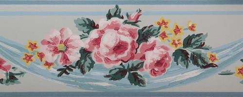 Imperial Vintage Wallpaper Border Roses on Blue