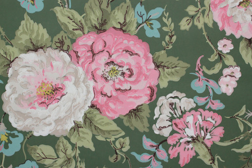 1950s Vintage Wallpaper Large Pink and White Floral on Green